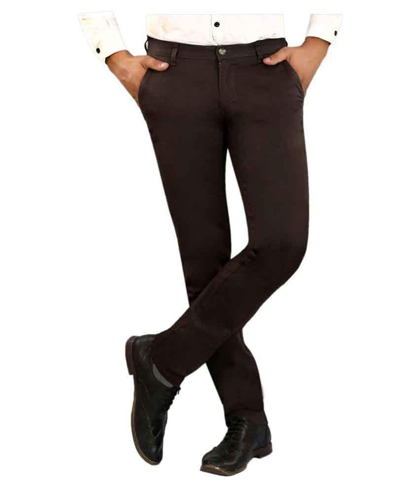 Pecos Bill Dark Brown Slim -Fit Flat Chinos