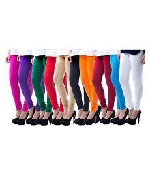 Yashica's Cotton Lycra Pack of 10 Churidar Leggings