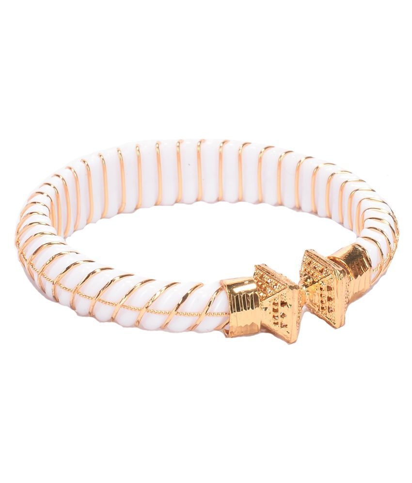 Manikya City Gold Shakha White Colored Copper With 24 Carat Micro Gold Plated Guaranteed Bangle (Size 2.6)