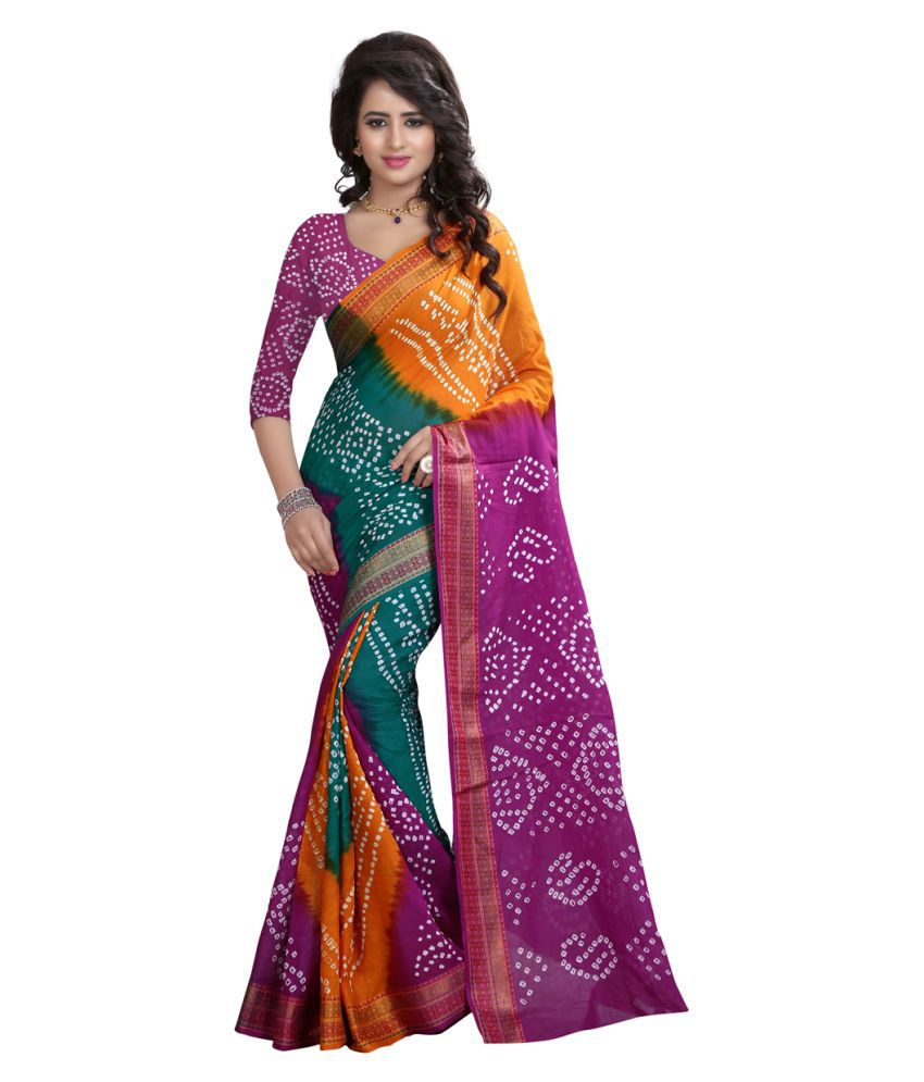 Divine International Trading Co. Green and Purple Cotton Saree
