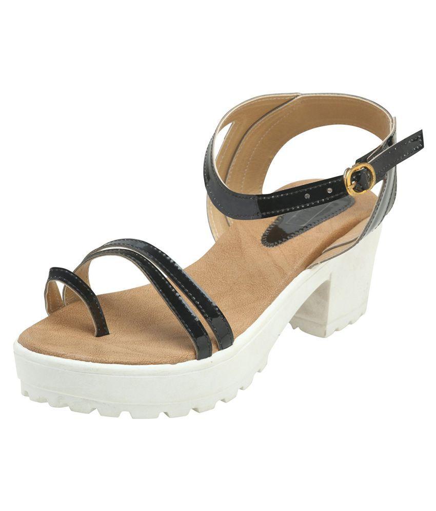 Pranisha Footwear Black Block Heels