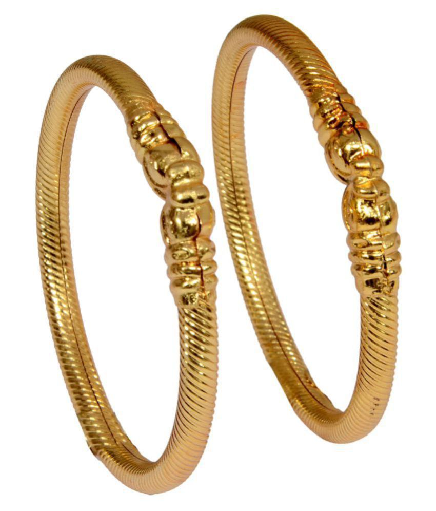 Mansiyaorange Traditional Designer Original Look Elephant Style Golden Bangles For Women