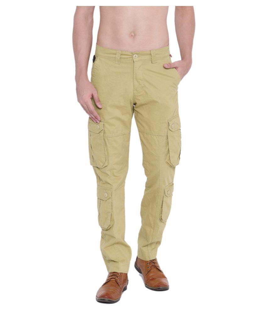 Sports 52 Wear Beige Regular -Fit Flat Cargos