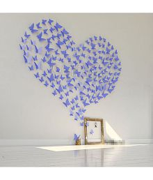 Jaamso Royals 3D Butterfly PVC Vinyl Blue Wall Sticker - Pack Of 1