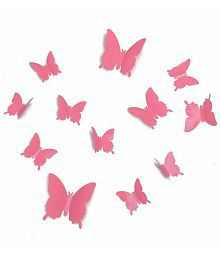 Jaamso Royals 3D Butterfly PVC Vinyl Pink Wall Sticker - Pack Of 1