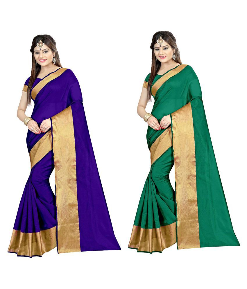 Zypara Multicoloured Cotton Silk Saree Combos