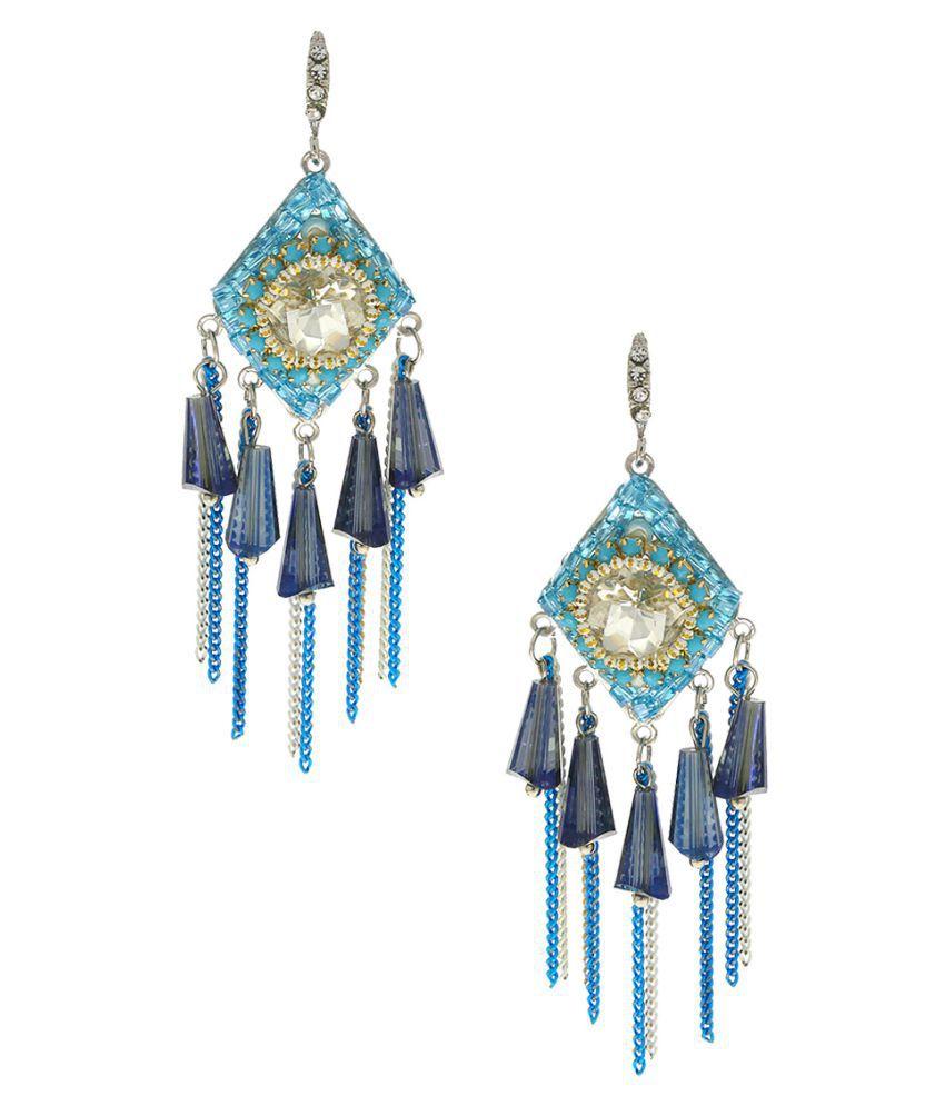 Anuradha Art Blue Colour Designer Studded Shimmering Stone Classy Party Wear Fancy Long Earrings For Women/Girls