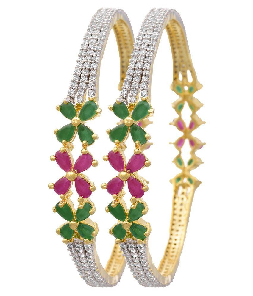 018083b37d8 JFL- Traditional & Fusion Ruby Red Emerald Green One Gram Gold Plated Cz  American Diamond Fashion Designer Bangle Set for Women & Girls.