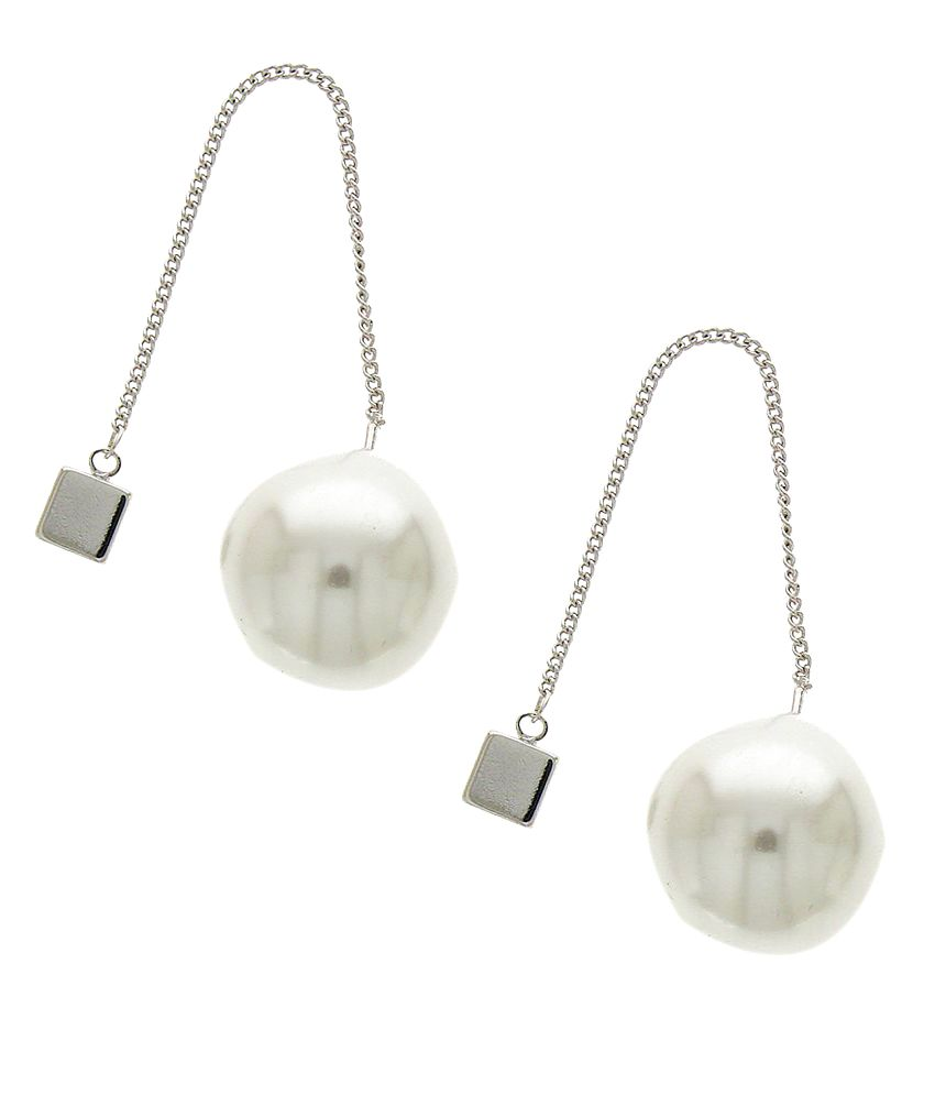 Anuradha Art Silver Colour White Colour Beads Wonderful Party Wear Facny Long Earrings For Women/Girls