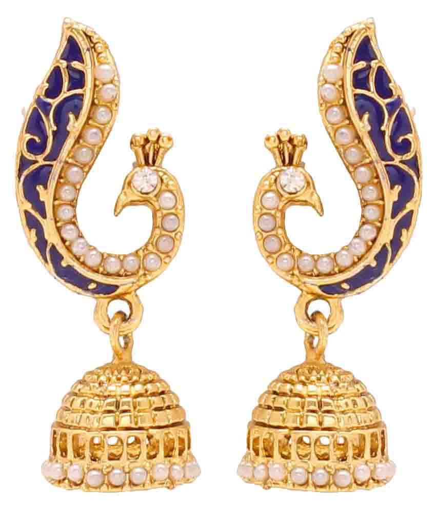 Memoir Brass Peacock Blue Pearl Dangle and Drop Jhumki for Women