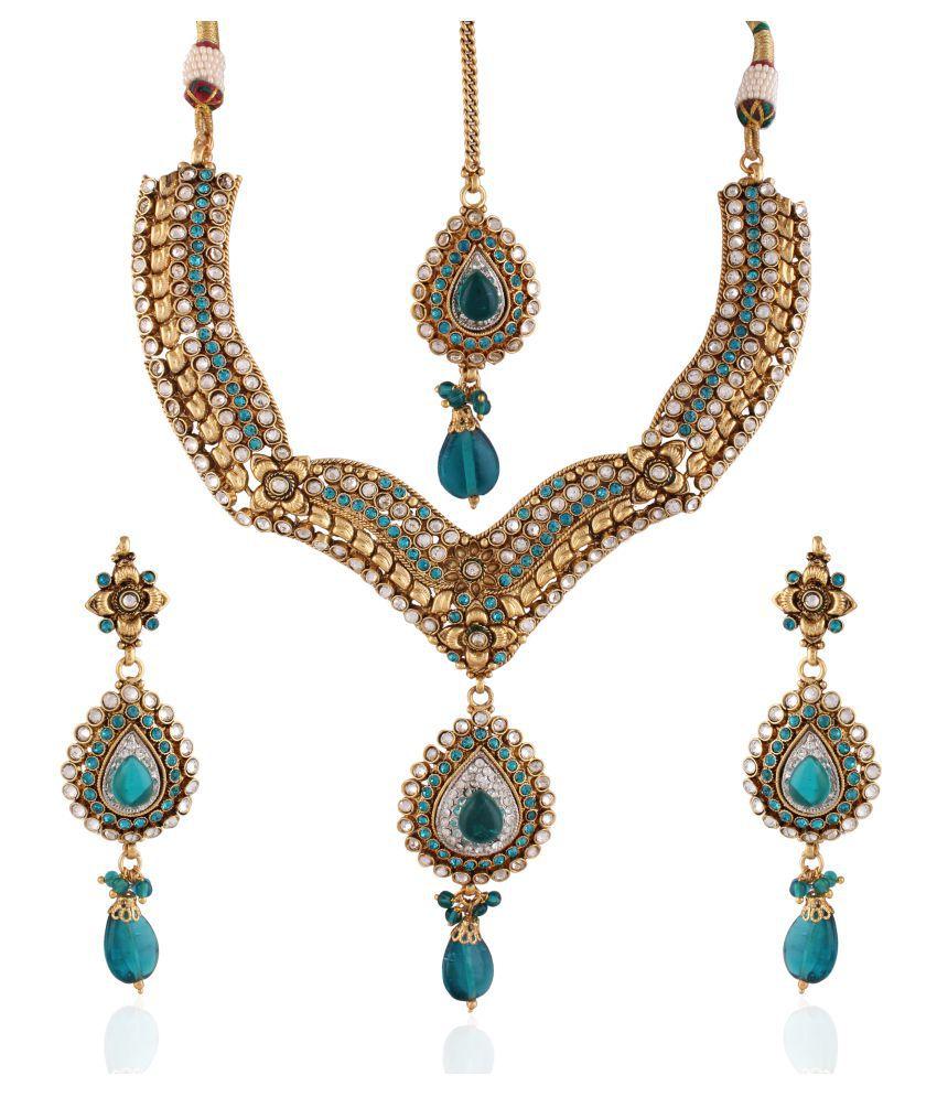 Utsavi's Contemporary Necklace, Earring & Maang Tikka Set for women
