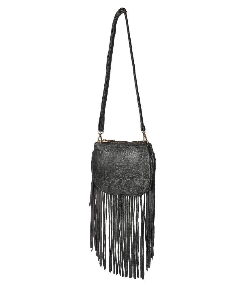 BLUR Black Flap Fringes Sling Bag - Buy BLUR Black Flap Fringes ...
