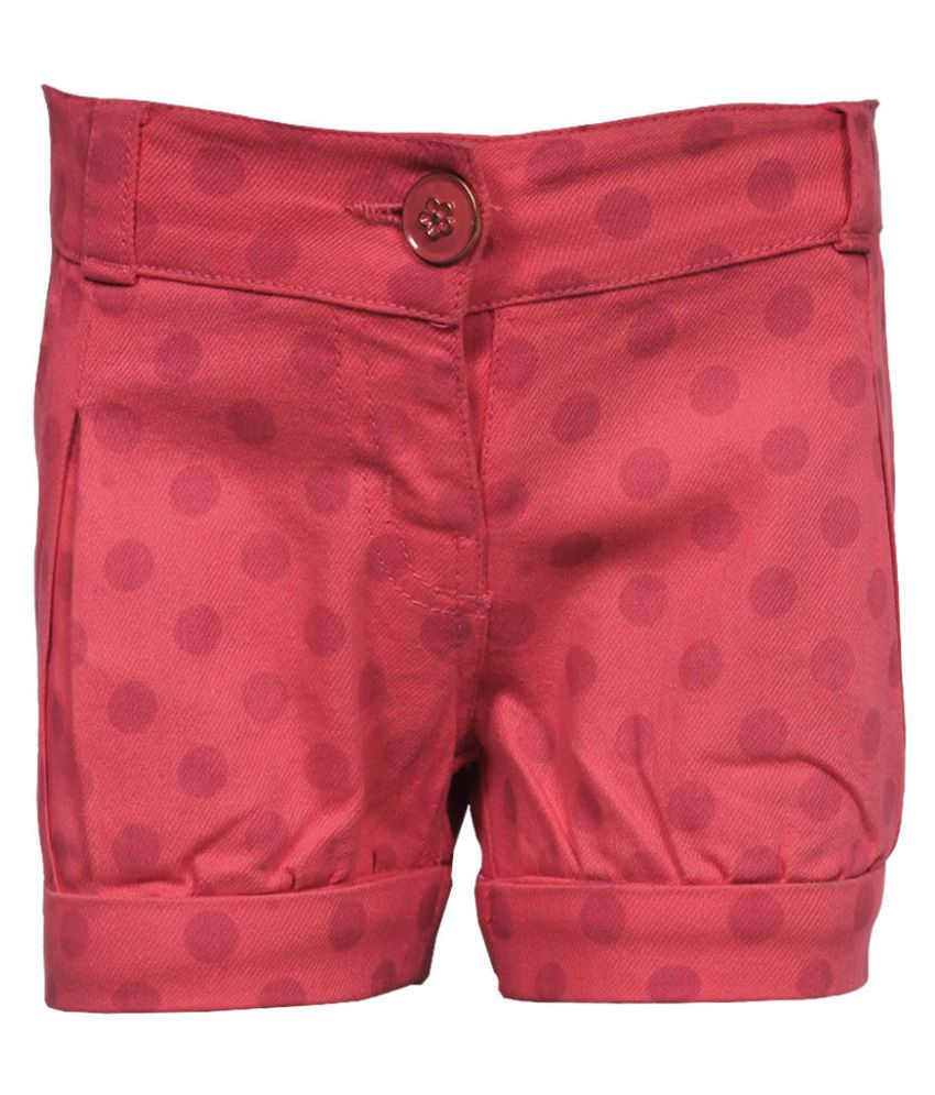Gron Stockholm Girls Self Design Pink Shorts (GS-0027-BG-PINK-6-9M, 6-9 Months)