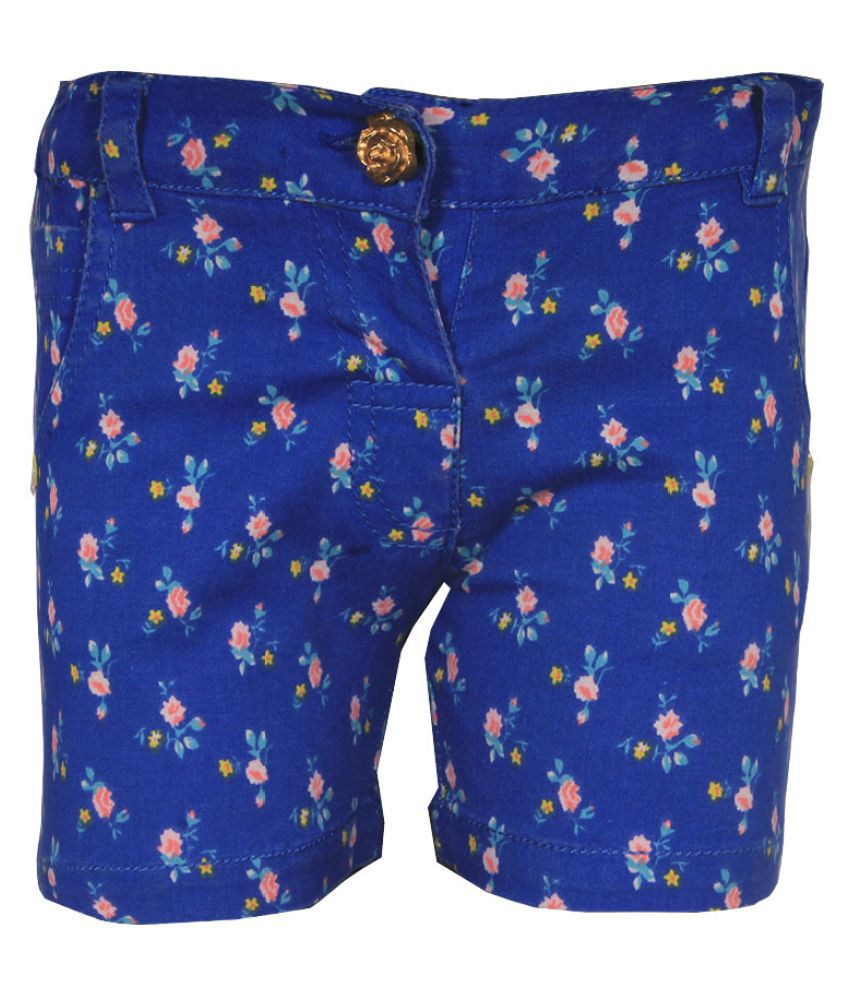Gron Stockholm Girls Self Design Blue Shorts (GS-000091-BG-BLUE-9-12M, 9-12 Months)
