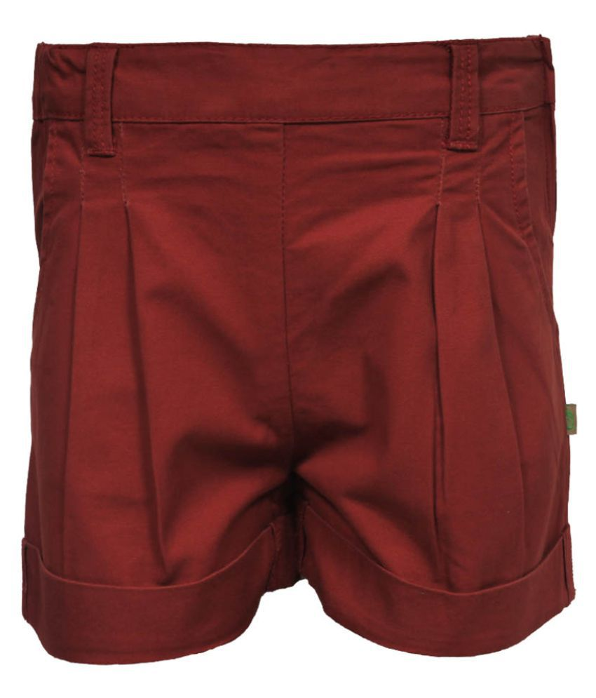 Gron Stockholm Girls Self Design Brown Shorts (GS-0475-CG-BROWN-9-10Y, 9-10 Years)