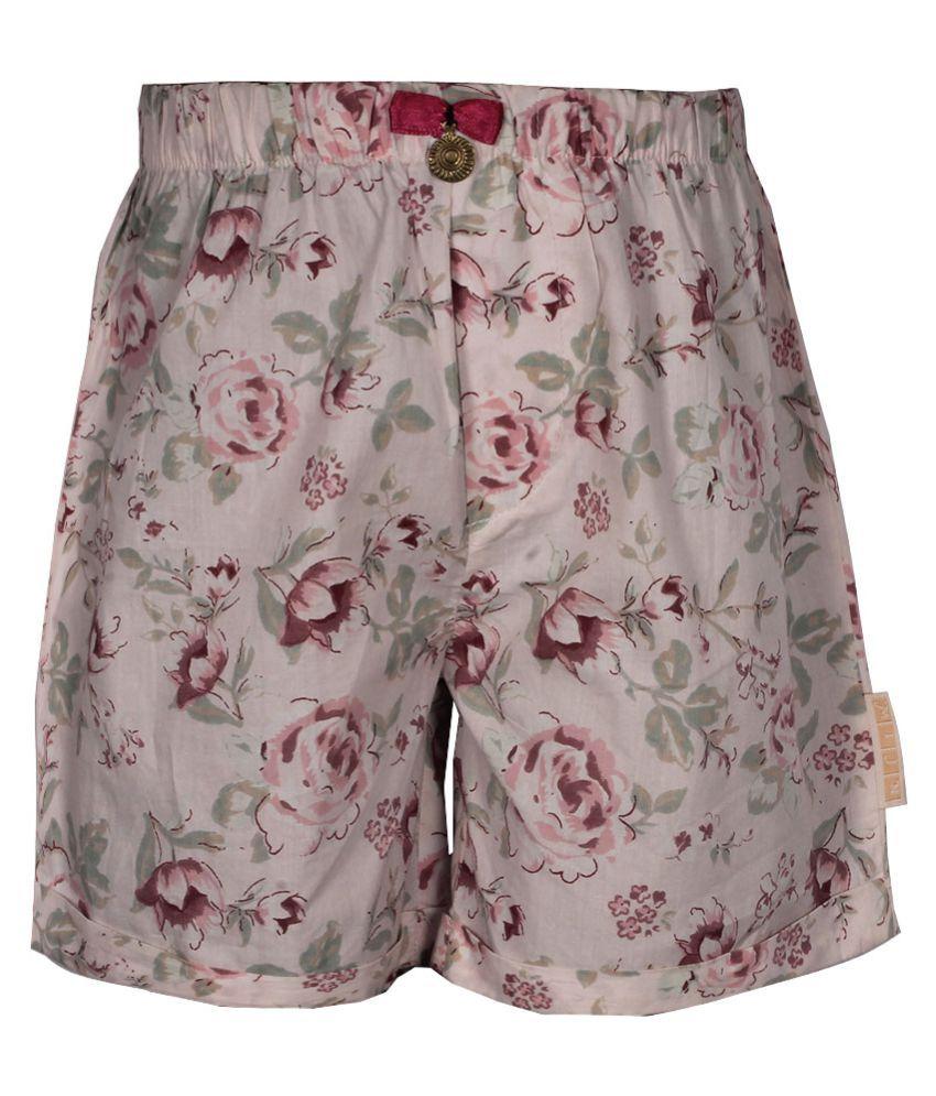 Gron Stockholm Girls Self Design Pink Shorts (MS-2-CG-PINK-FLOREL-8Y, 8 Years)