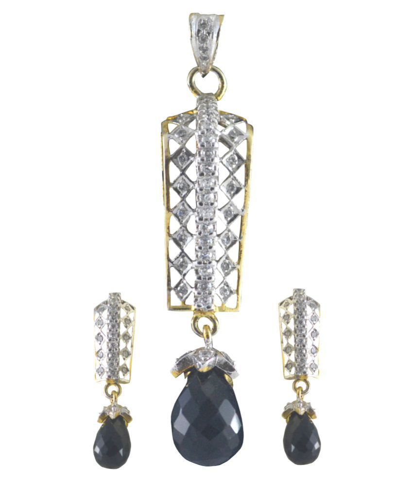 Rejewel American Diamond Pendant Set With Black Dropper