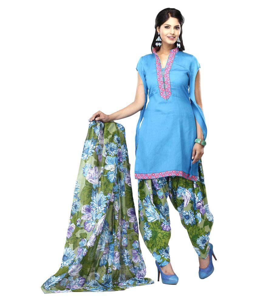 Swanvi Blue Cotton Straight Stitched Suit