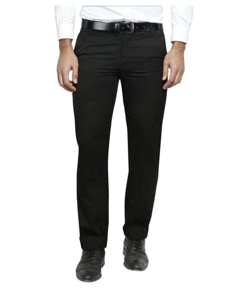 Lyos Black Regular -Fit Flat Trousers