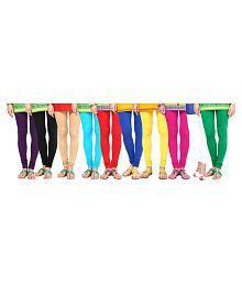 Aashish Garments Cotton Lycra Pack of 10 Churidar Leggings