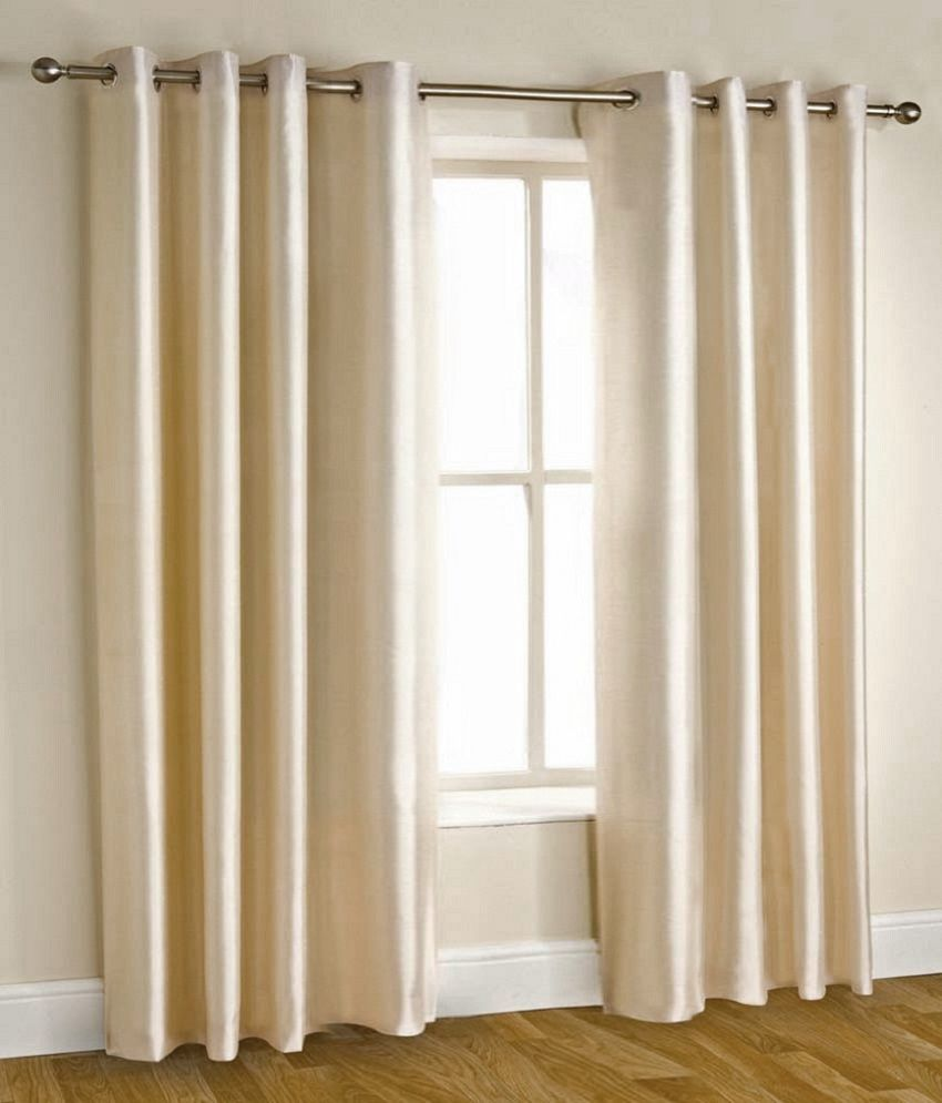 Homefab India Set Of 2 Door Eyelet Curtains Solid White