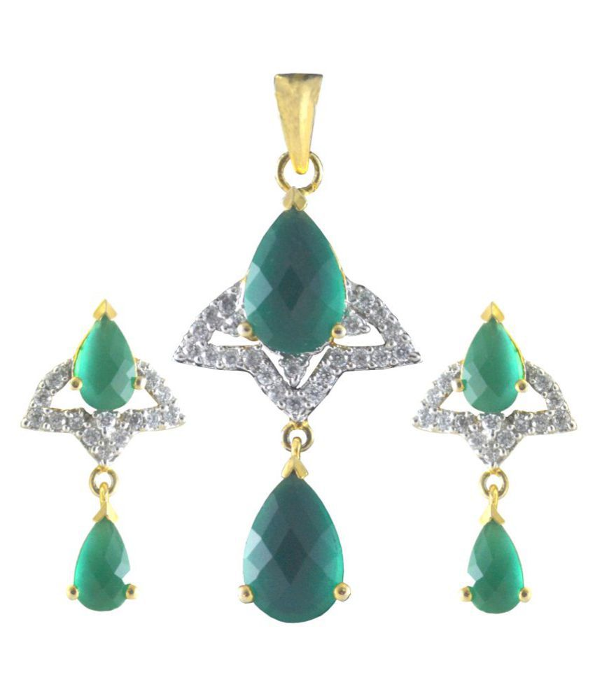 Rejewel Green Stone AD Pendant Set For Classy Look