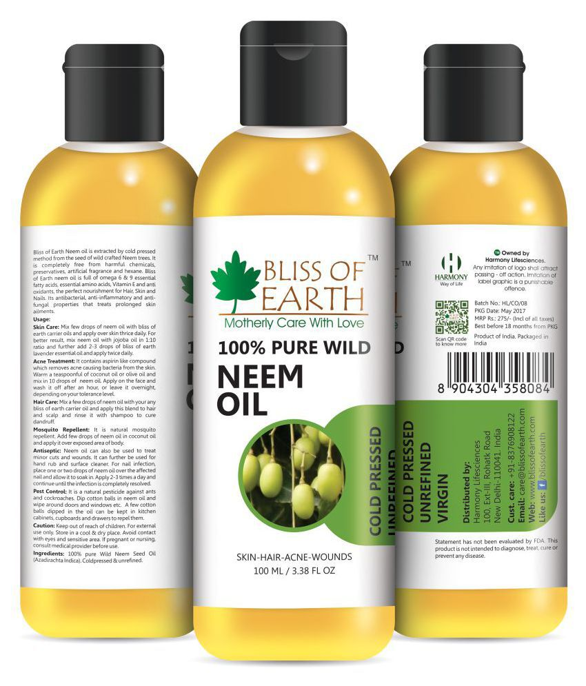 bliss of earth Wildcrafted Neem Oil 100 ml