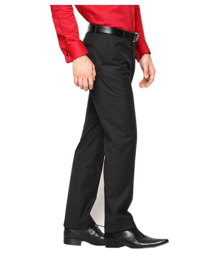571d40b1c1111a AD & AV Black Regular -Fit Flat Trousers - Buy AD & AV Black Regular ...