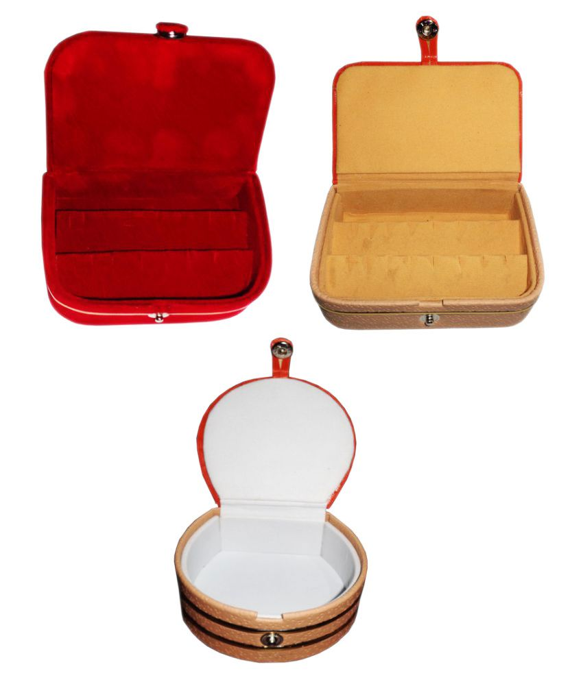 ABHINIDI Combo 1 pc  earring box 1 pc red ear ring folder 1 pc bangle box jewelry vanity case