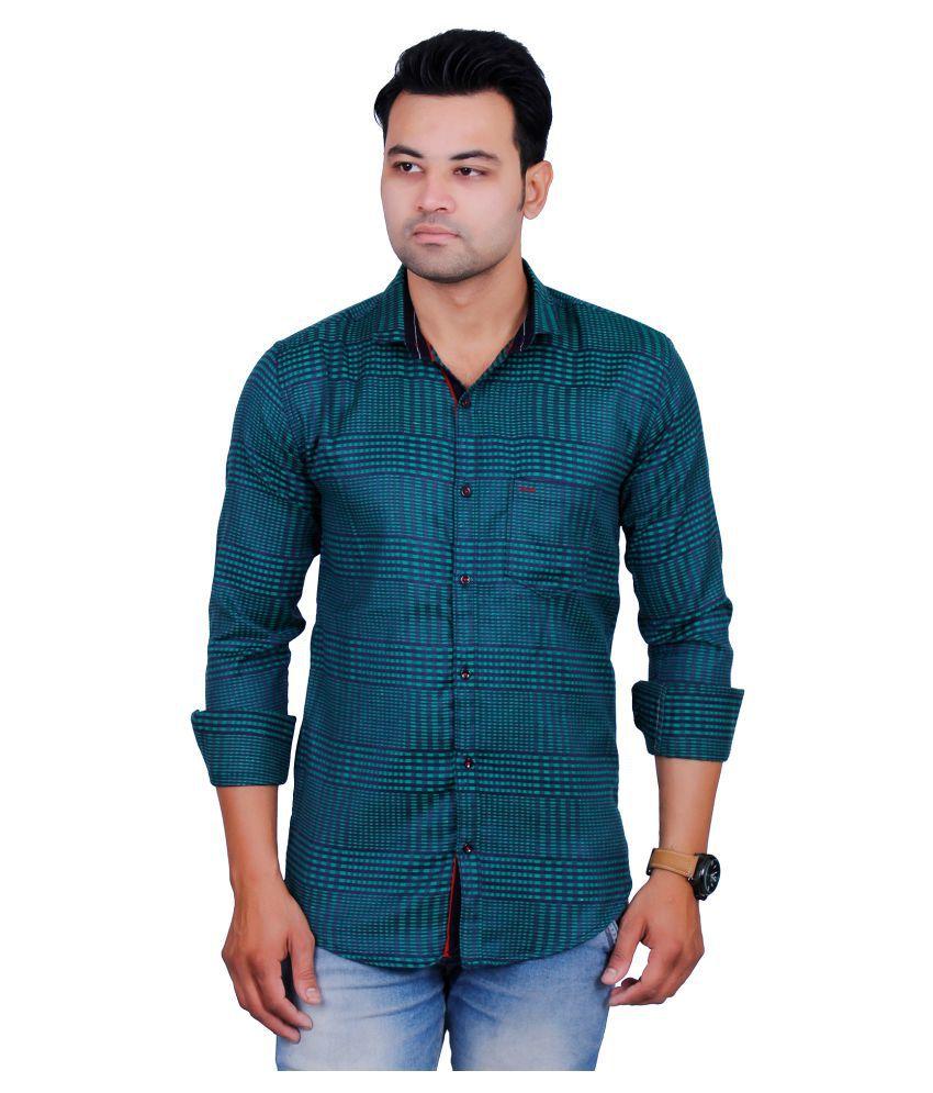 La Milano Green Casual Slim Fit Shirt
