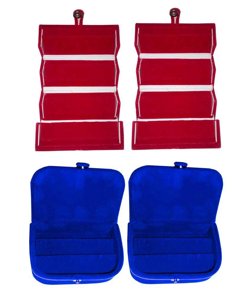ABHINIDI Combo 2 pc red earring folder and 2 pc blue ear ring box vanity case