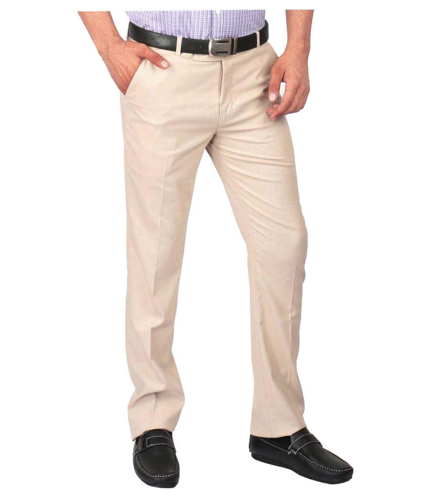 AD & AV Beige Regular -Fit Flat Trousers