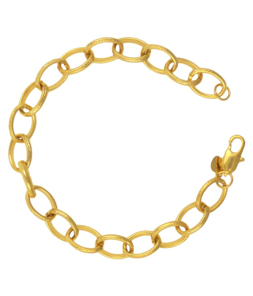 Saizen 22K Yellow Gold Plated BR207  Stainless Steel Bracelet For Men And Boys