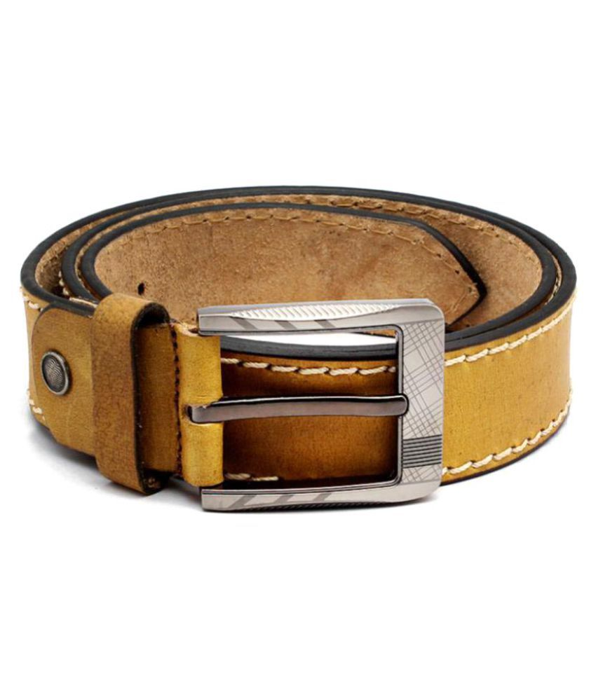 Junckers Khaki Leather Casual Belts