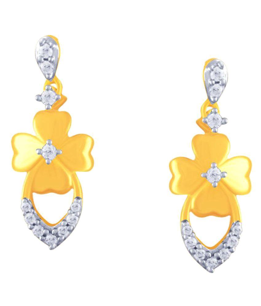 Sangini 18k BIS Hallmarked Gold Diamond Drop Earrings