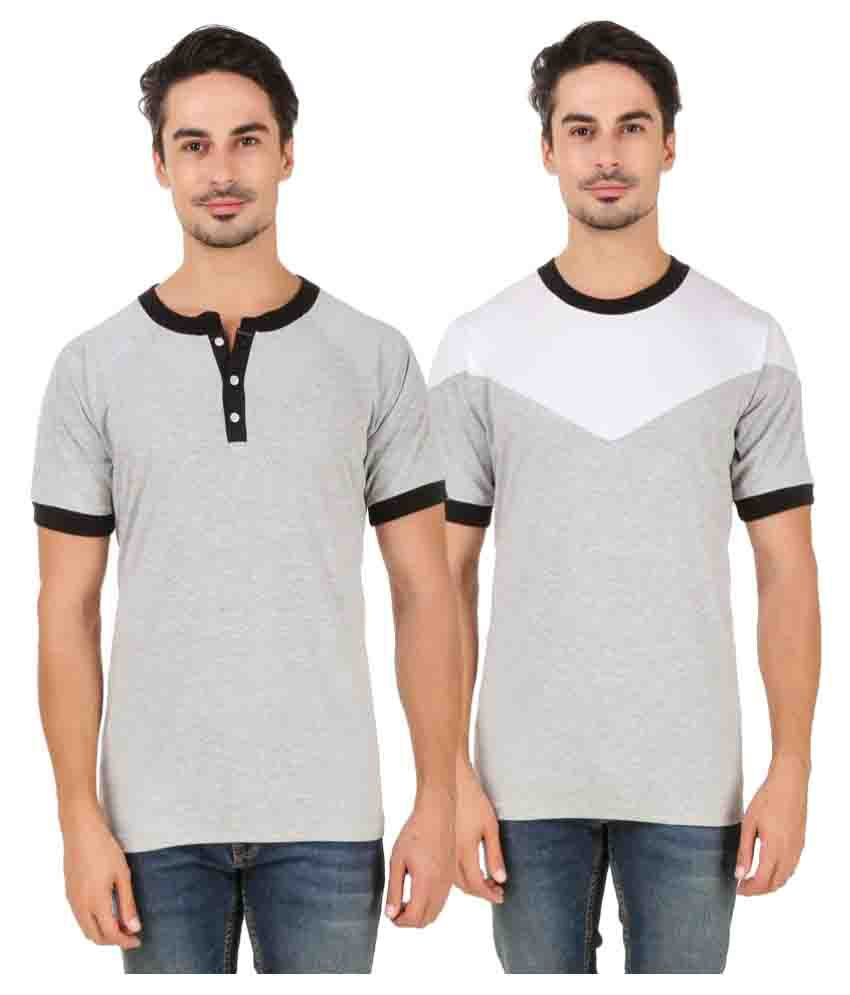 Aurelio Marco Off-White Henley T-Shirt Pack of 2