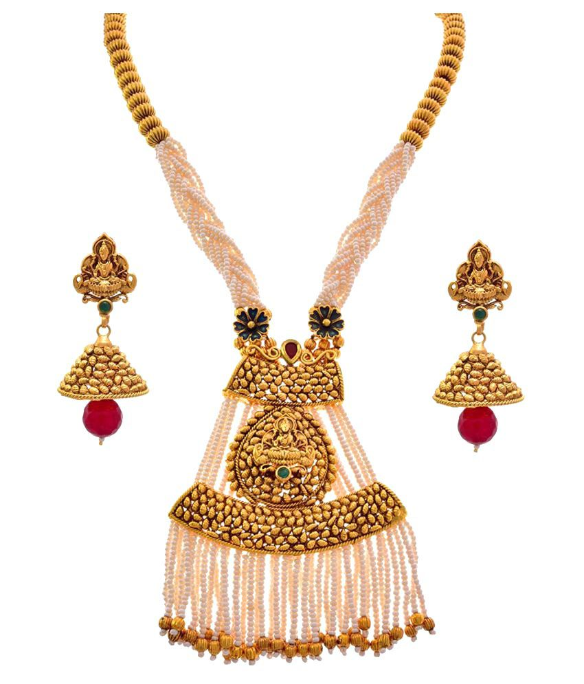 JFL - Traditional Ethnic Antique Temple Mahalaxmi One Gram Gold Plated White Pearl Bead Designer Necklace Set with Jhumka Earrings for Girls & Women