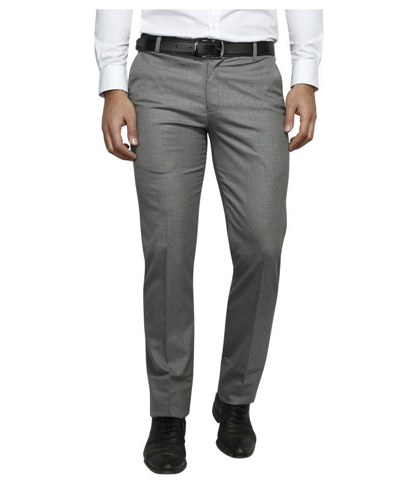 Lyos Grey Regular -Fit Flat Trousers
