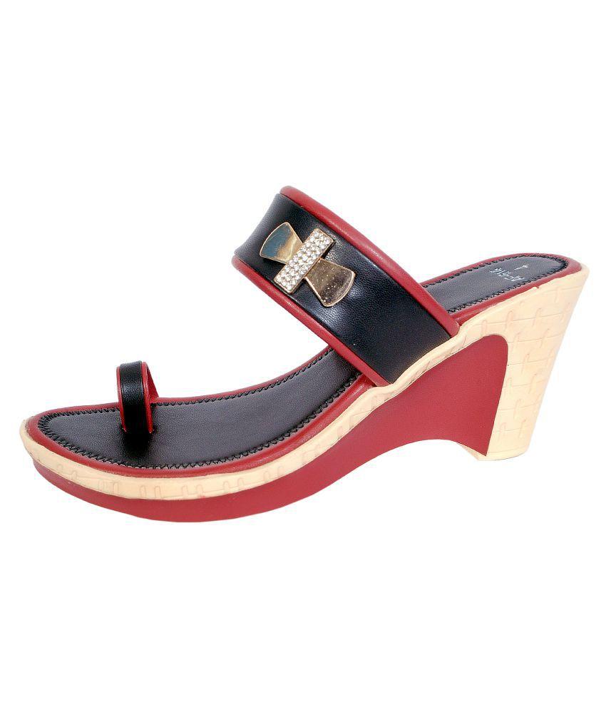 Andfoot Black Wedges Heels