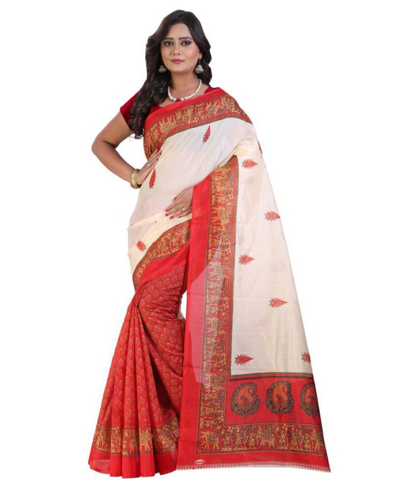 Maskup Fashion Multicoloured Bhagalpuri Silk Saree