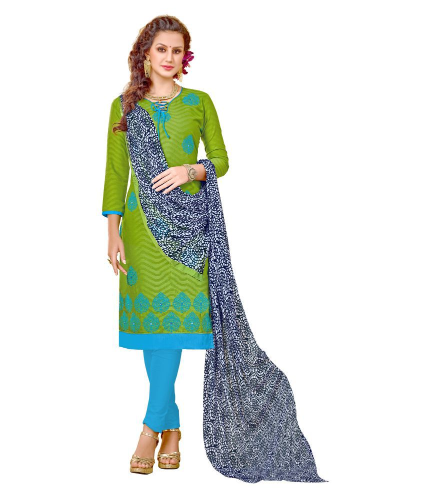 An Ethnic Affair Green Cotton Dress Material