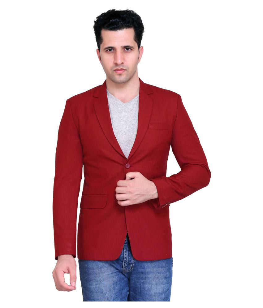 NU ABC Garments Maroon Solid Casual Blazers