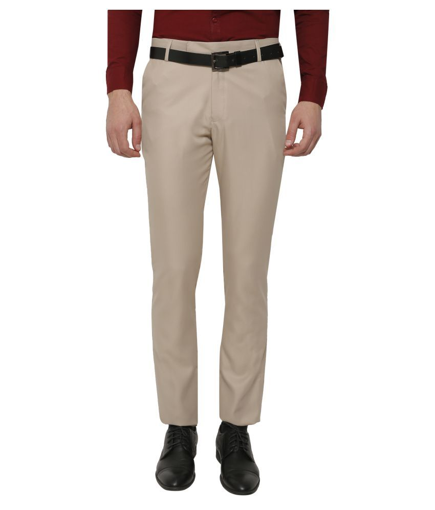 Inspire Clothing Inspiration Beige Slim -Fit Flat Trousers