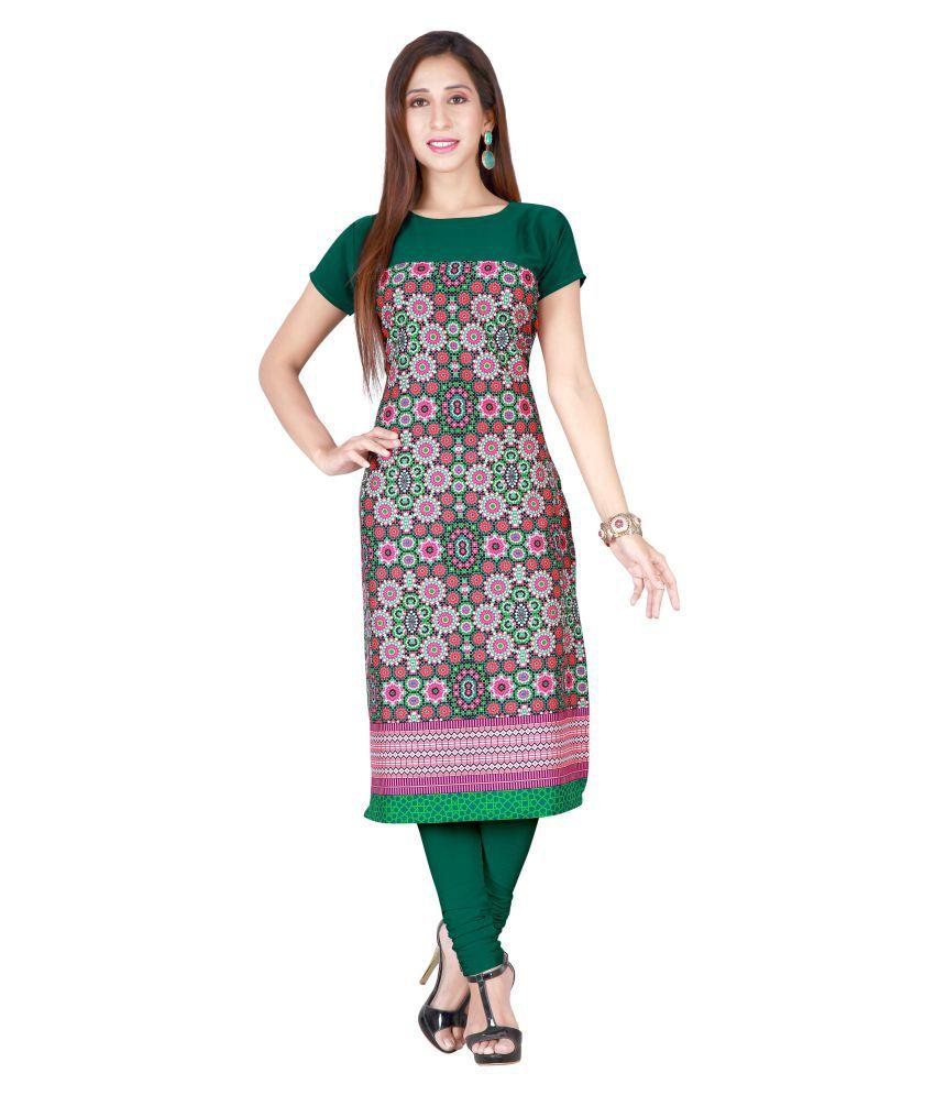 Brahmani Fabrics Multicoloured Crepe Straight Kurti