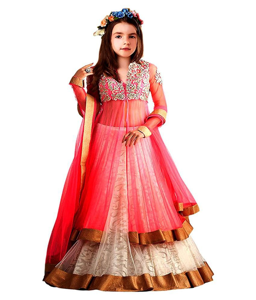 6a5301dec84 Girls Kidswear Pink Soft Net Semi-Stitched Ethnic Lehenga suit with Dupatta  - traditional wear ( 8-12 yrs) - Buy Girls Kidswear Pink Soft Net  Semi-Stitched ...