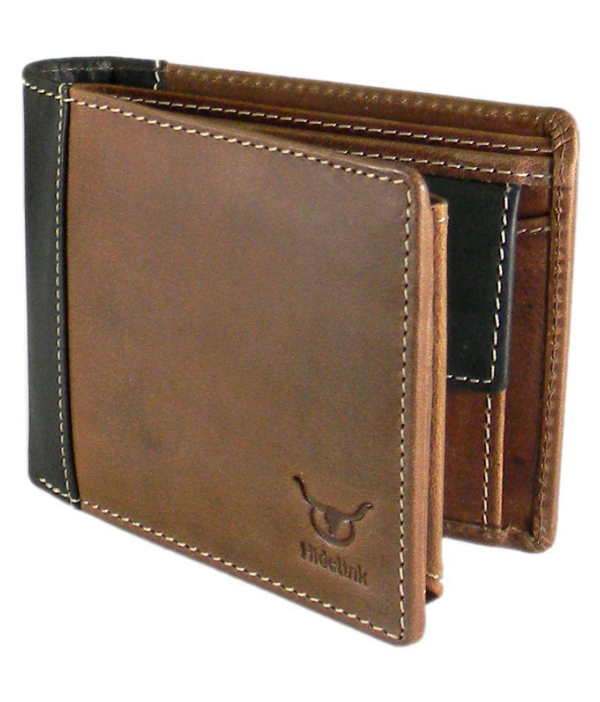 Hidelink Leather Brown Formal Regular Wallet: Buy Online ...