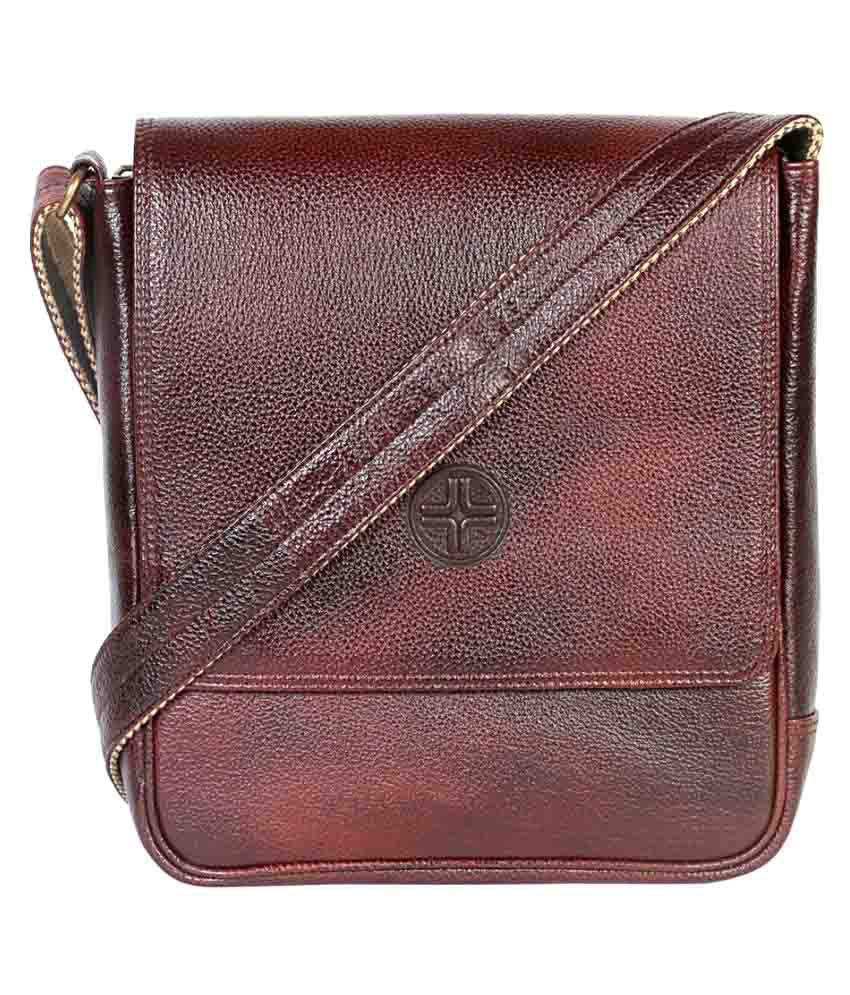 JL Collections Brown Leather Casual Messenger Bag