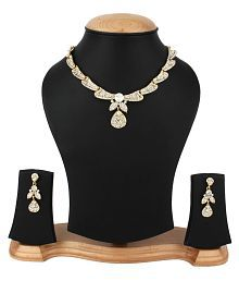 Penny Jewels Enameled Diamond Sparkling Non-Precious Trendy Classic Necklace Set For Women & Girls