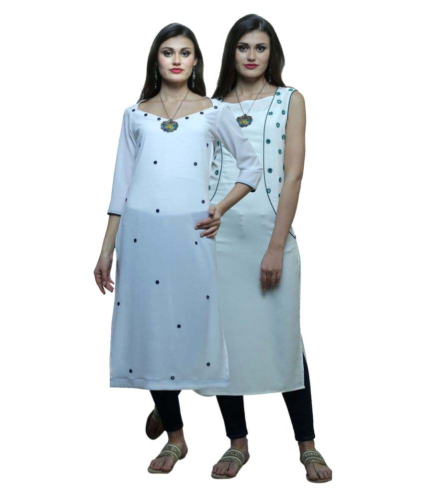 Color Opera Kreation White Georgette Straight Kurti - Buy Color ...