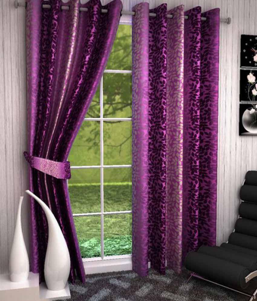 Akshaan Texo Fab Set of 2 Window Eyelet Curtains Floral Purple